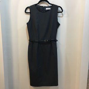 Calvin Klein Gray Dress w/ Belt